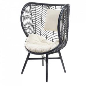 Scaun lounge negru din ratan si fier Poso Zago