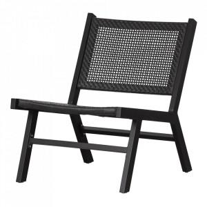 Scaun lounge negru polietilena si aluminiu Puk Woood