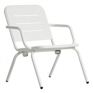 Scaun lounge pentru exterior alb din aluminiu Ray Woud