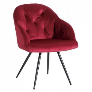 Scaun lounge rosu/negru din catifea si metal Birdie Ixia