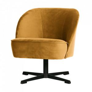 Scaun lounge rotativ galben mustar din otel si catifea Vogue Be Pure Home