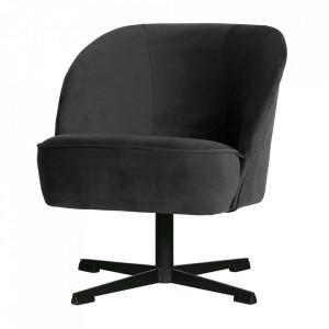 Scaun lounge rotativ negru din otel si catifea Vogue Be Pure Home