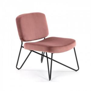 Scaun lounge roz din metal si catifea Circuit La Forma