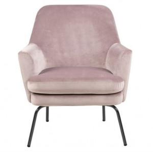 Scaun lounge roz/negru din textil si metal Chisa Dusty Rose Black Actona Company