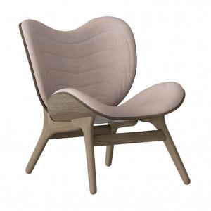 Scaun lounge roz prafuit/maro inchis din poliester si lemn A Conversation Piece Umage
