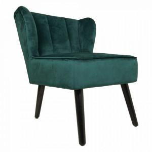 Scaun lounge verde din catifea si metal Cocktail HSM Collection