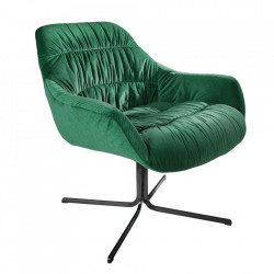 Scaun lounge verde din catifea si metal Dutch Invicta Interior