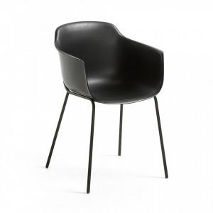 Scaun negru din plastic cu structura metal negru Khasumi La Forma
