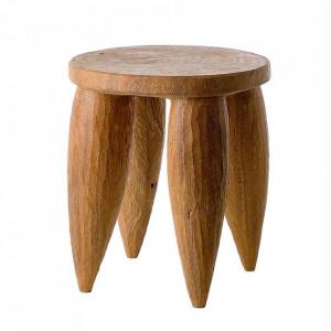 Scaunel maro din lemn Senofo Pols Potten