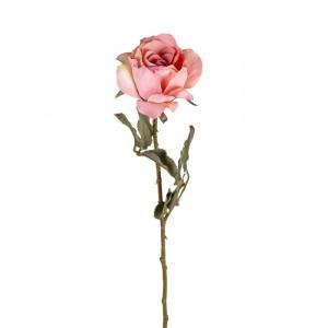 Set 12 flori artificiale roz/verzi din plastic si metal 61 cm Rose Pink Richmond Interiors