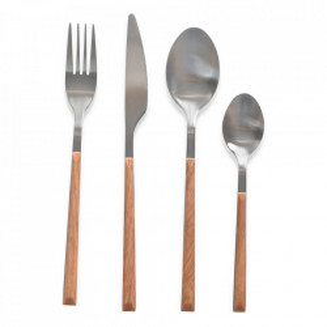 Set 16 tacamuri maro/argintii din lemn si inox Desir Opjet Paris