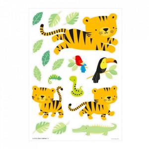 Set 17 stickere pentru perete multicolore din vinil Jungle Tiger A Little Lovely Company