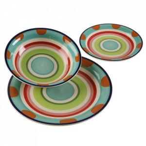 Set 18 farfurii multicolore din ceramica Alisia Versa Home