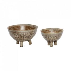 Set 2 boluri decorative maro/bej din ceramica Special Bowls Hubsch