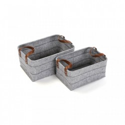 Set 2 cosuri gri din fetru Set Light Baskets Versa Home