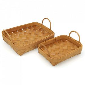Set 2 cosuri maro din lemn Teo Versa Home