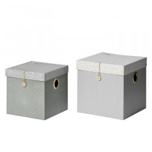 Set 2 cutii cu capac gri din carton Dots Done by Deer