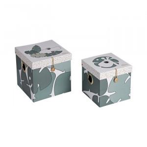 Set 2 cutii cu capac multicolore din carton Tiny Tropics Done by Deer