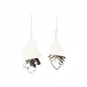 Set 2 decoratiuni suspendabile albe/argintii din ceramica si portelan Leaf Hubsch