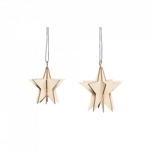 Set 2 decoratiuni suspendabile maro din placaj si lemn Star Hubsch