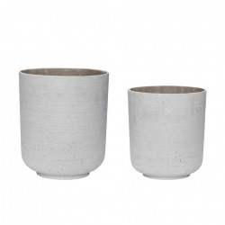 Set 2 ghivece gri din rasina Light Grey Pot Hubsch