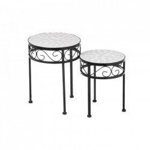 Set 2 masute albe/negre din ceramica si metal pentru exterior White Ceramic Unimasa