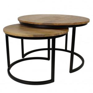 Set 2 masute de cafea maro/negre din lemn de mango si fier Ronin M HSM Collection