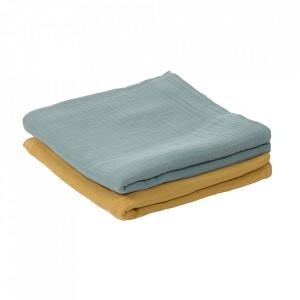 Set 2 museline galbene/albastre din bumbac organic 87x87 cm Hilen Kave Home
