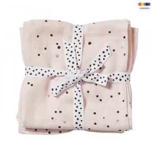 Set 2 museline roz din bumbac pentru copii 120x120 cm Dreamy Done by Deer
