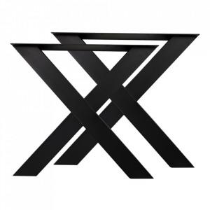 Set 2 picioare pentru masa dining negre din metal X HSM Collection