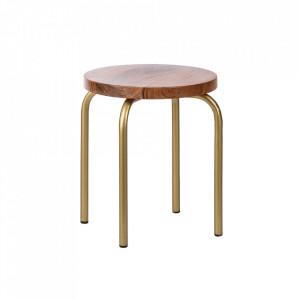 Set 2 scaunele maro/aurii din lemn de mango si metal Circle Kids Depot