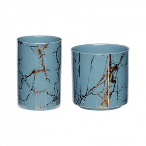Set 2 suporturi lumanare albastru/auriu din portelan Thyra Hubsch