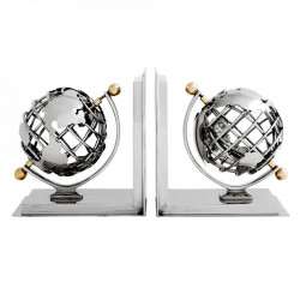 Set 2 suporturi pentru carti argintii din inox si aluminiu Globe Eichholtz