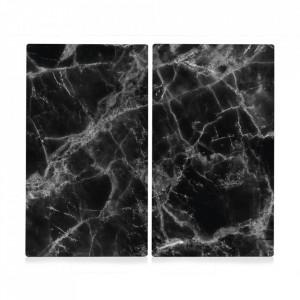 Set 2 tocatoare dreptunghiulare negre din sticla 30x52 cm Marble Zeller