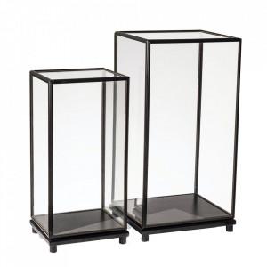 Set 2 vitrine negre din sticla si lemn Marras Pols Potten