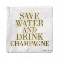 "Set 20 servetele alb/auriu 33x33 cm ""Save Water and drink Champagne"" Bloomingville"