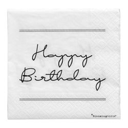 "Set 20 servetele albe 25x25 cm ""Happy Birthday.."" Bloomingville"