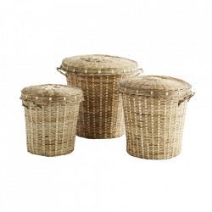 Set 3 cosuri cu capac maro din bambus Helene Madam Stoltz