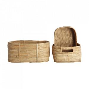 Set 3 cosuri maro din ratan si bambus Chaka Nature House Doctor