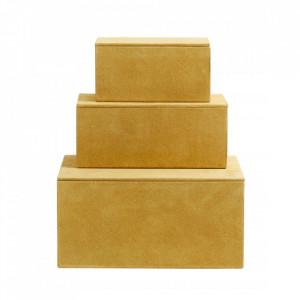 Set 3 cutii cu capac galbene din piele si MDF Goat Elegance Nordal