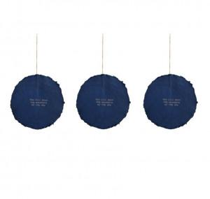 Set 3 decoratiuni suspendabile albastre din hartie 16 cm Astrea La Forma