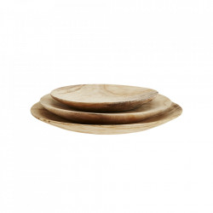 Set 3 platouri maro din lemn Round Paulownia Plates Madam Stoltz