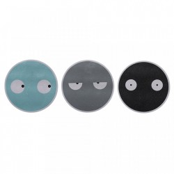 Set 3 stickere multicolore din PVC Faces Bloomingville
