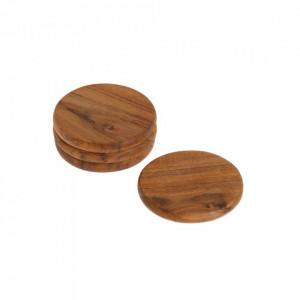 Set 4 coastere maro din lemn de salcam Yanila La Forma