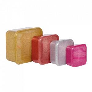 Set 4 cutii pentru pranz multicolore din polietilena Blush A Little Lovely Company