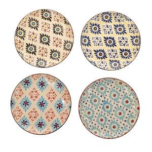 Set 4 farfurii multicolore din ceramica 21 cm Mosaic Flowers Pols Potten