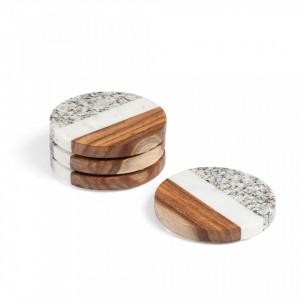 Set 4 protectii din marmura si lemn 10 cm Cataleg La Forma