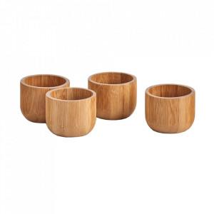 Set 4 suporturi pentru ou maro din lemn de bambus Hardy Zeller
