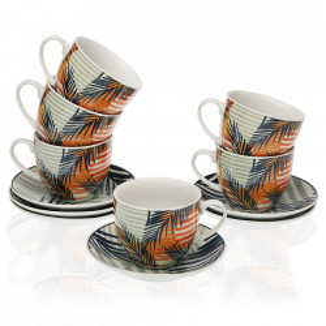 Set 6 cesti cu farfurioare multicolore din portelan 7x8,3 cm Saona Tea Versa Home