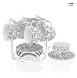 Set 6 cesti cu farfurioare si suport din portelan si metal Tea Grey Versa Home